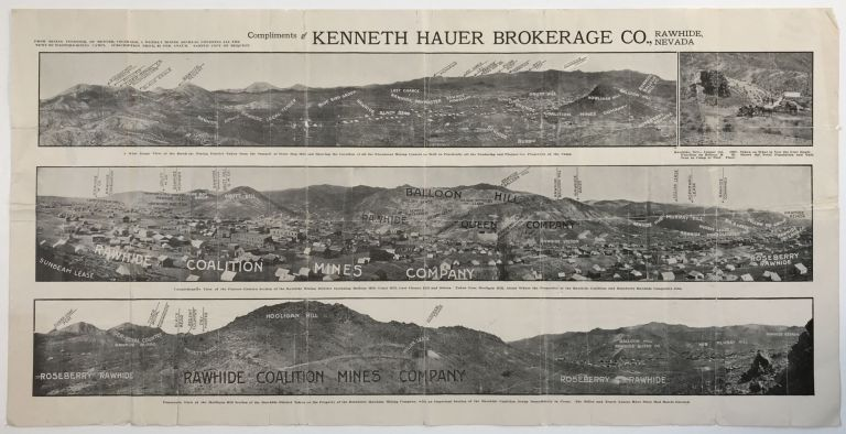 [Broadside Showing the Rawhide Coalition Mines] Compliments of Kenneth Hauer Brokerage Co., Rawhide, Nevada. Nevada, Mining.