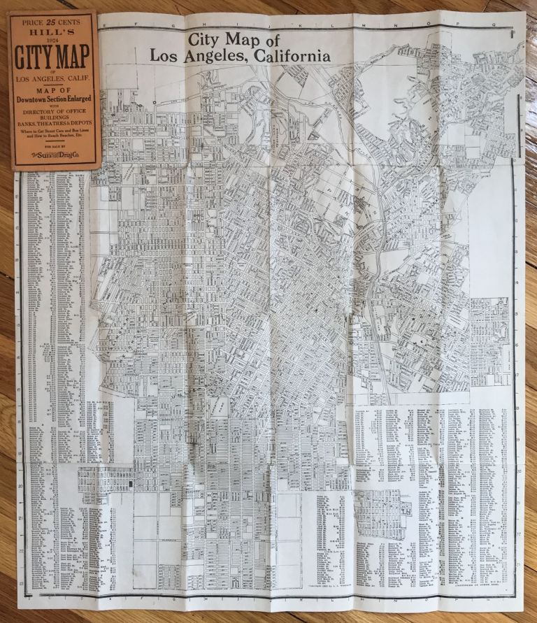 Hill's 1924 City Map of Los Angeles, Calif. [cover title]. California.