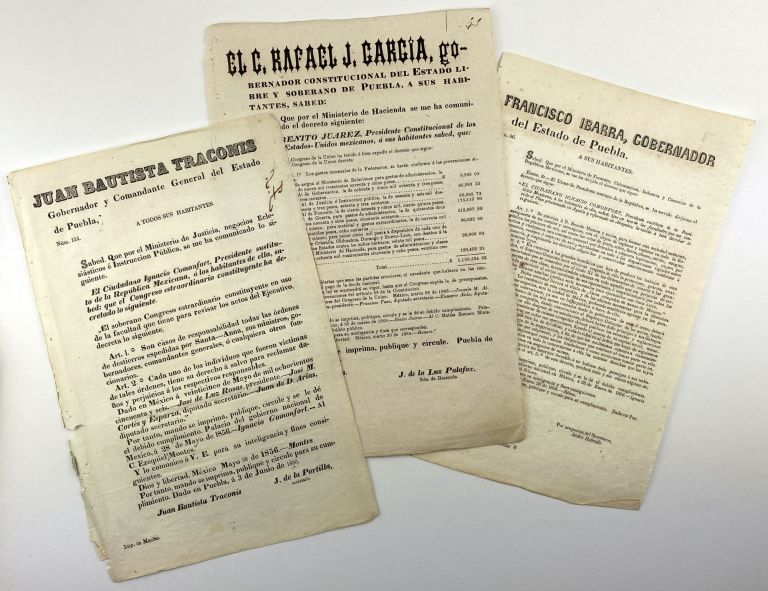 [Large Group of Broadside Decrees Issued by the State Government of Puebla During the Mid-19th Century]. Mexico.