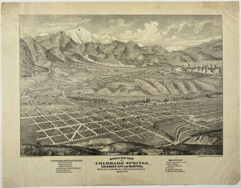Birds Eye View of Colorado Springs, Colorado City and Manitou, on the Line of the Denver & Rio Grande Railway. Jan 1874. Colorado, E. S. Glover.