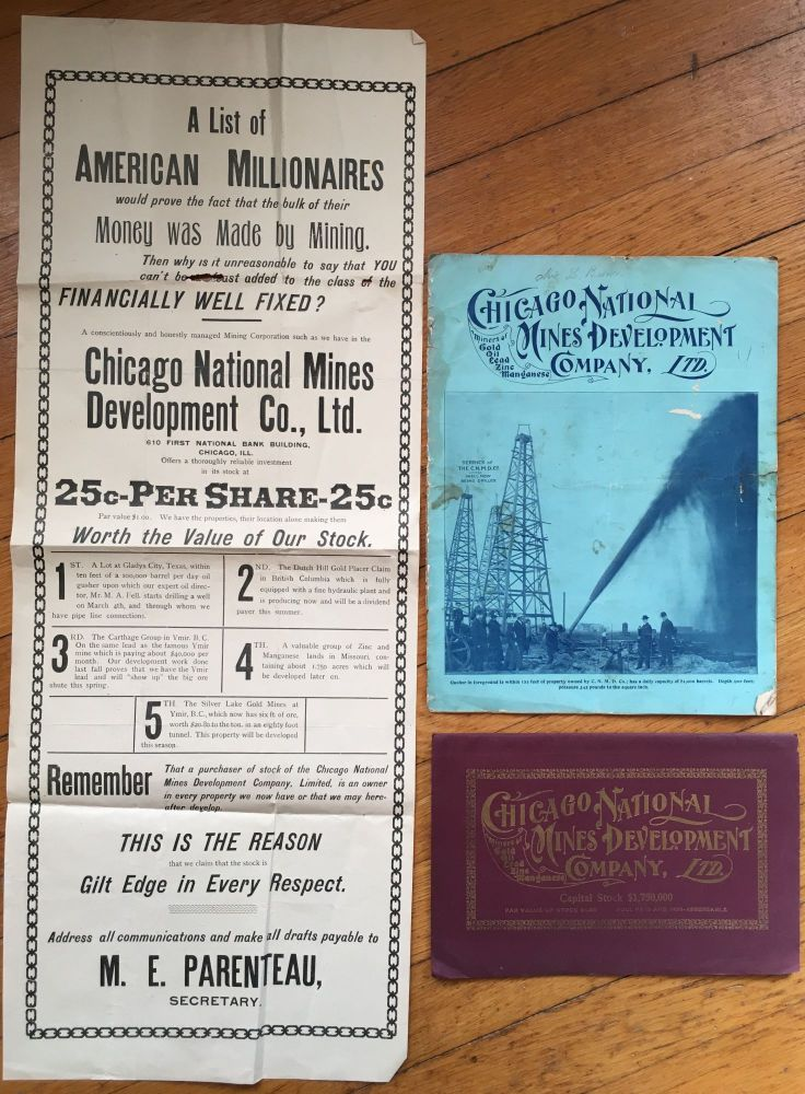 [Small Archive of the Chicago National Mines Development Company]. Texas Oil, British Columbia Mining.