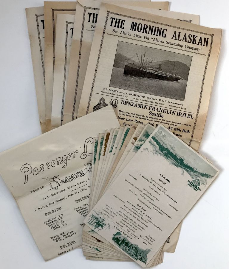 """[Archive of Ephemera from a Voyage to Alaska Aboard the Alaska Line, Including Menus and Five Issues of the Shipboard Newspaper, """"The Morning Alaskan""""]. Alaska Steamship Company."""
