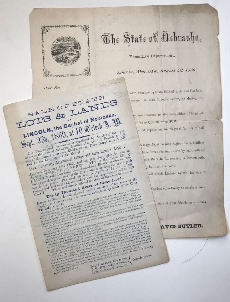 [Two Promotional Pieces for State Government Land Sales in Lincoln, Nebraska during 1869]. Nebraska.