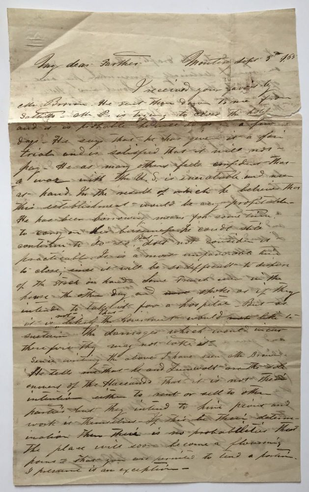 [Autograph Letter, Signed, from L. Bellinger to His Father in Texas, Concerning the French Purchase of a Local Hotel]. Les Bellinger.