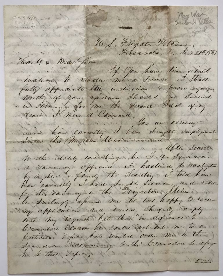 [Autograph Letter, Signed, from A.S. Baldwin to Chester Ashley Asking for a Naval Command during the Mexican-American War]. A. S. Baldwin.