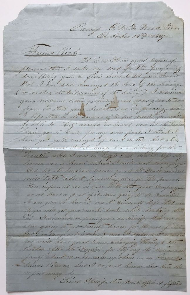 [Autograph Letter, Signed, by William Beggs to J.A. Richards Concerning the Soldiering Life, Including Chasing Mexican Women]. William Beggs.