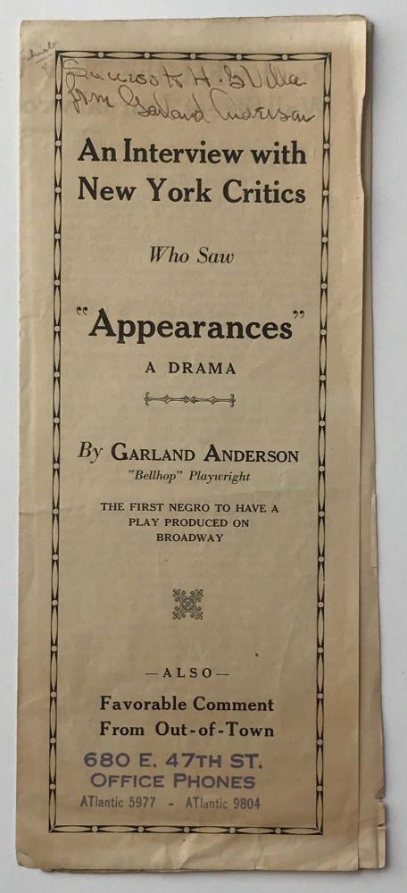 "An Interview with New York Critics Who Saw ""Appearances"" a Drama. African-Americana, Garland Anderson."