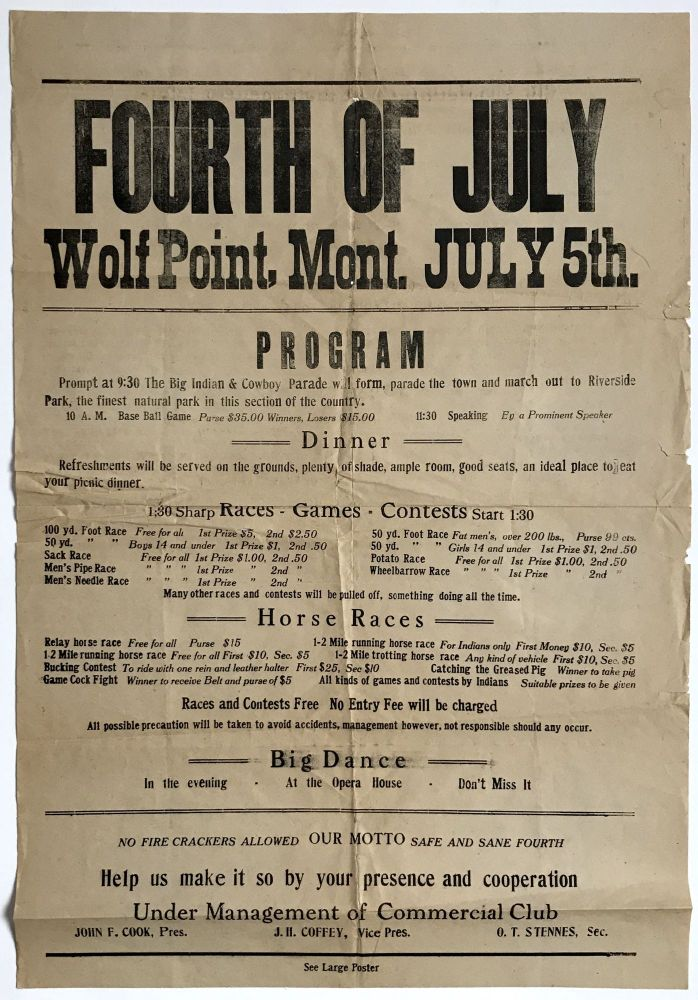 Fourth of July Wolf Point, Mont. July 5th. Program... [caption title]. Montana.