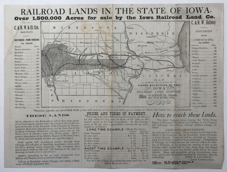 General Description of over One and a Half Million Acres of Land, Located in the Middle Region of Western Iowa, and for Sale by the Iowa Railroad Land Co. [caption title]. Iowa, Railroads.