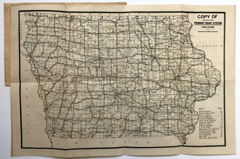 Copy of Official Primary Road System of Iowa [cover title]. Iowa.
