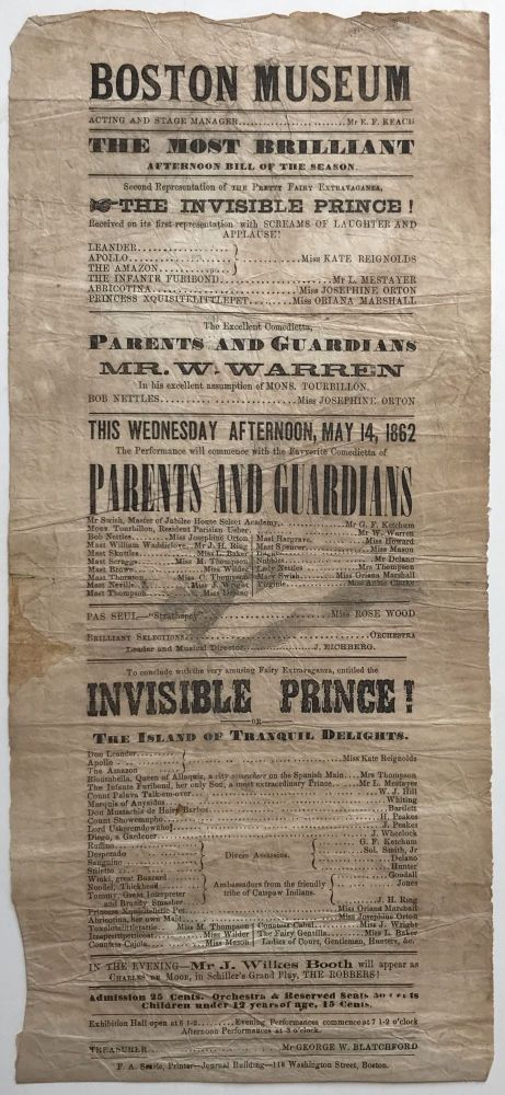 Boston Museum. The Most Brilliant Afternoon Bill of the Season. Second Representation of the Pretty Fairy Extravaganza, the Invisible Prince! [caption title]. John Wilkes Booth.
