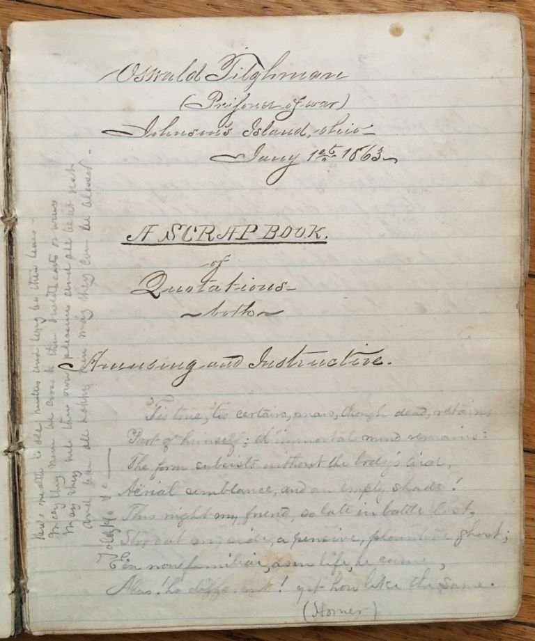 [Diary and Commonplace Book of Confederate Cavalry Officer Oswald Tilghman, Compiled While a Prisoner of War at Johnson's Island in 1864]. Oswald Tilghman.
