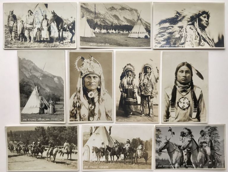 [Series of Nineteen Real Photo Postcards of Nakoda Native Peoples in and Around Banff]. Byron Hill Harmon.