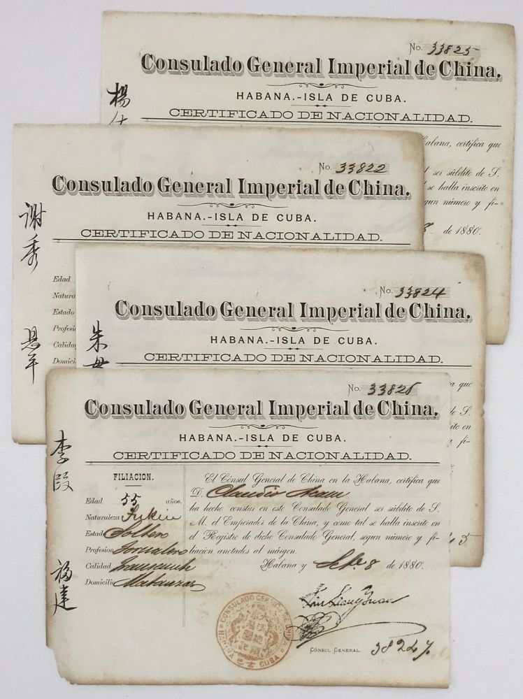 [Four Certificates of Nationality from the Chinese Consulate in Havana for Indentured Servants]. Cuba, Slavery.