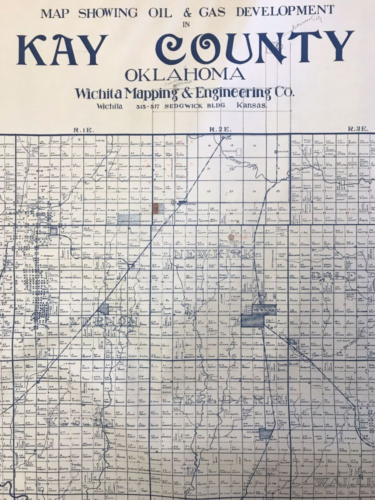 Map Showing Oil & Gas Development in Kay County Oklahoma. Oklahoma, Oil.