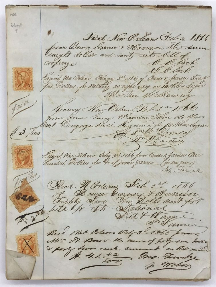 [Manuscript Receipt Book for Commission Merchants Bower, Garner & Harrison of New Orleans During the Early Years of Reconstruction]. Louisiana, Trade.