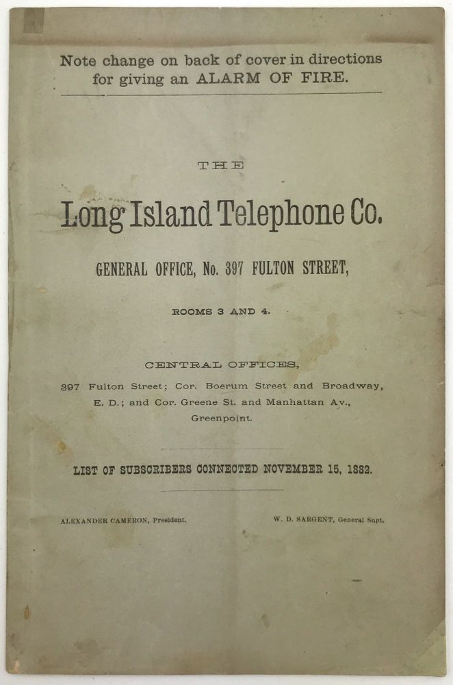 The Long Island Telephone Co. General Office, No. 397 Fulton Street, Rooms 3 and 4...List of Subscribers Connected November 15, 1882. Telephone, Directories.