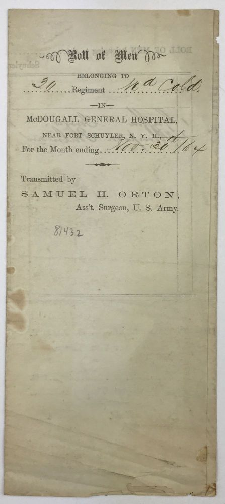 [Printed Document, Completed in Manuscript, Recording U.S. Colored Troop Soldiers in Hospital]. African-Americana, Civil War.