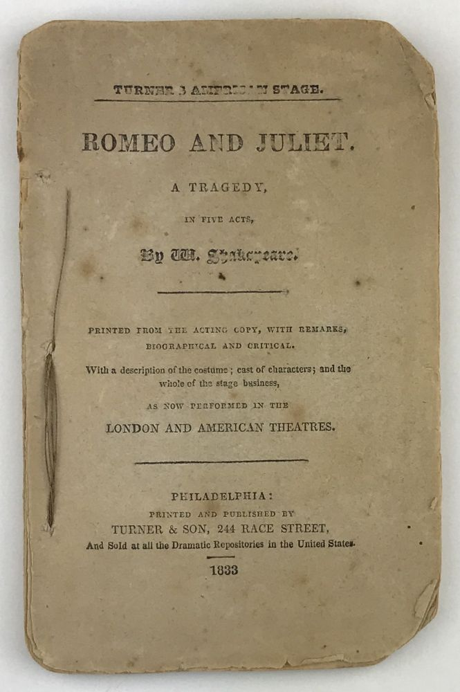 Romeo and Juliet. A Tragedy, in Five Acts. William Shakespeare.