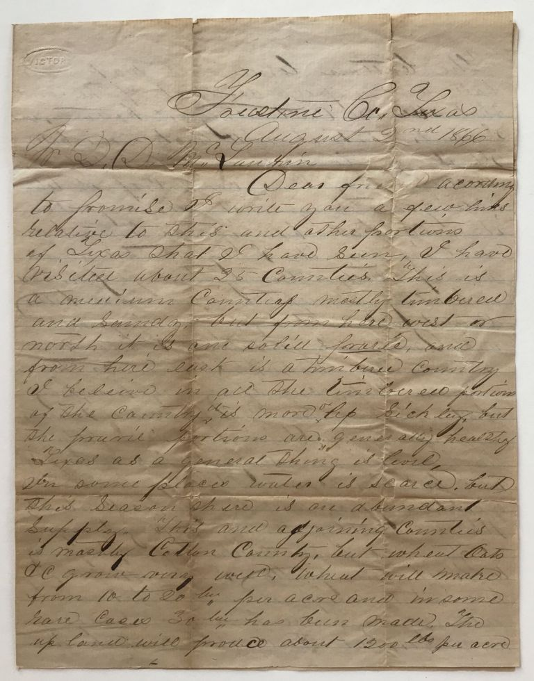 [Autograph Letter, Signed, Discussing Different Types of Agricultural Production in Texas]. Texas, Farming.