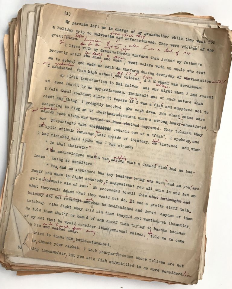 [Typescript, with Manuscript Corrections, of a Novella Describing Ranch Life in Early-20th Century Texas. Together with Additional Correspondence and Family Materials from the Author]. H. Franklin Browder.