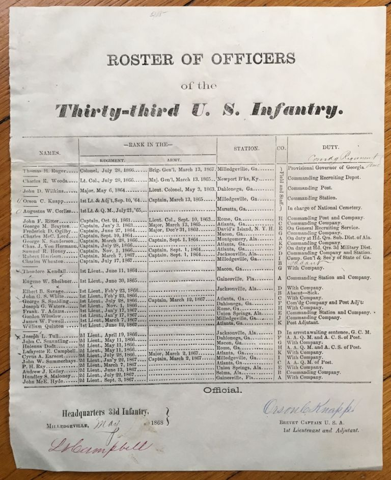 Roster of Officers of the Thirty-third U.S. Infantry [caption title]. Georgia, Reconstruction.
