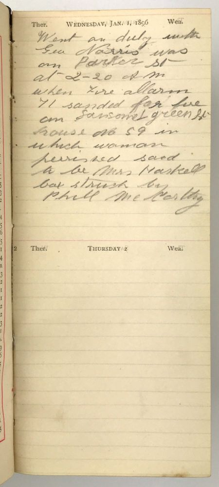 [Diary of San Francisco Policeman F. Andersen Recording Activities on the Beat During 1896]. Policing, San Francisco.