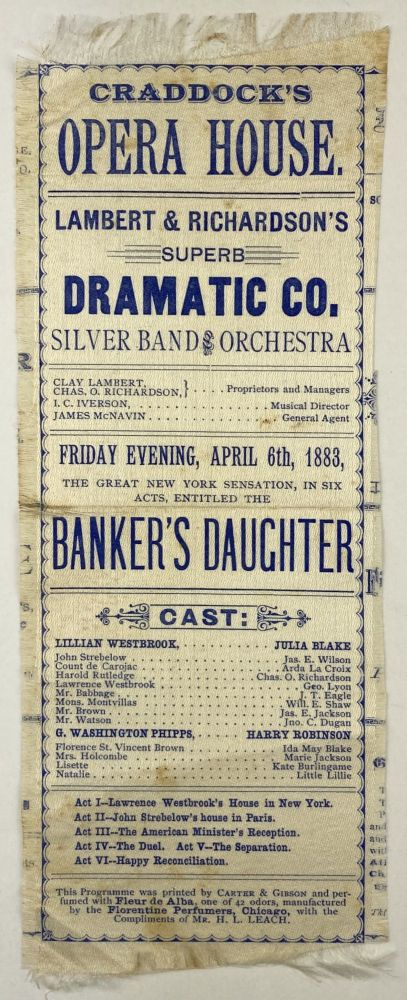 Craddock's Opera House. Lambert & Richardson's Superb Dramatic Co. Silver Band and Orchestra [caption title]. Texas, Theater.