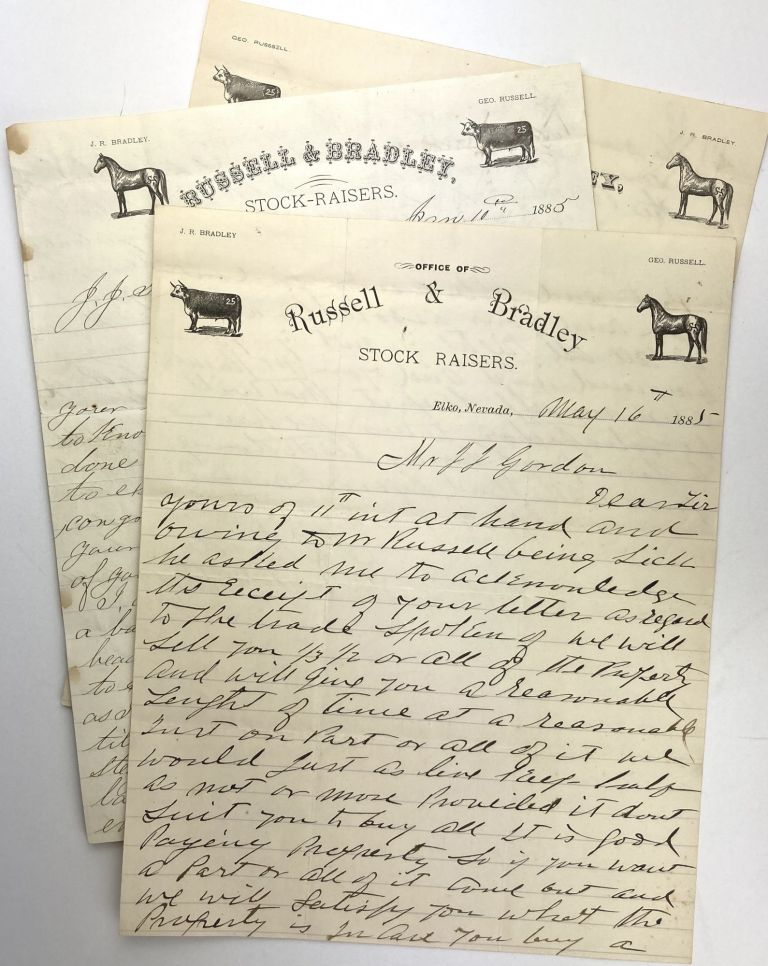 [Three Letters Regarding an Idaho Ranch Sale from Russell & Bradley, Prominent Nevada Stock Raisers]. Idaho, Cattle.