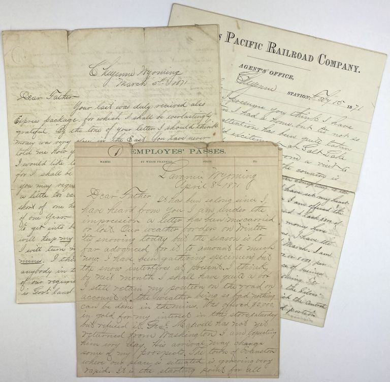 [Three Manuscript Letters by W.H. Wheeler, an Aspiring Western Entrepreneur, to his Father, Regarding Potential Businesses in Wyoming and Utah]. W. H. Wheeler.