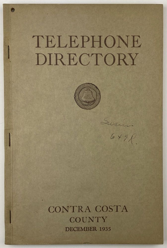 Telephone Directory. Contra Costa County. California, Directories.