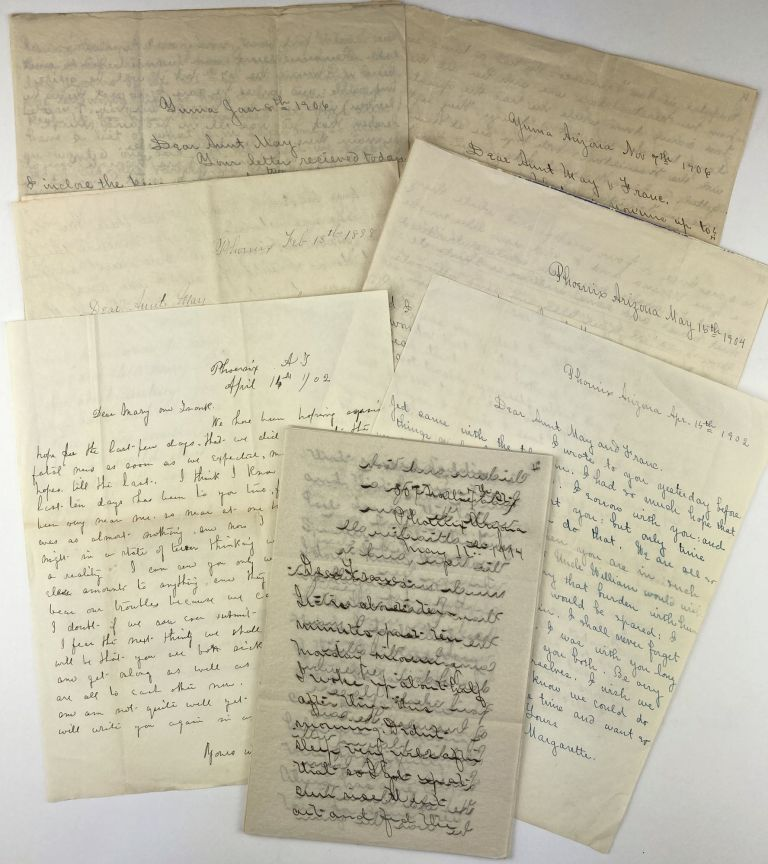 """[Group of Six Letters Written to """"Aunt May"""" and Her Daughter Franc by Her Niece, Margarette, Describing Life in Arizona and Other Family Matters]. Arizona, Women."""