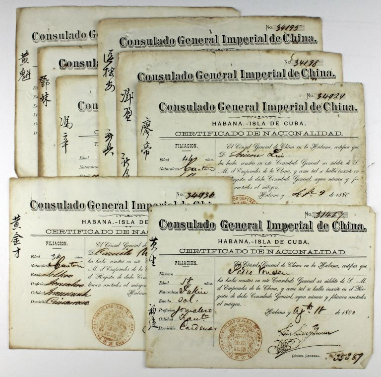 [Group of Eight Certificates of Nationality for Chinese Citizens in Cuba from the Consulado General Imperial de Cuba]. Cuba, Slavery.