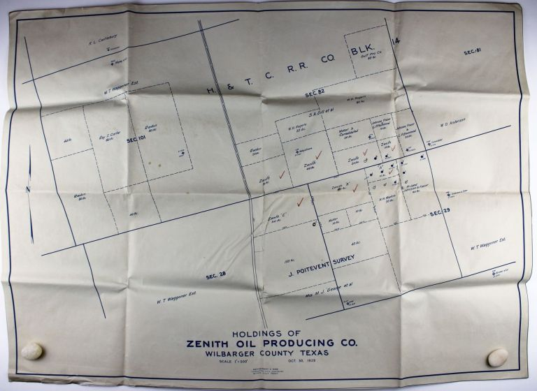 Holdings of Zenith Oil Producing Co. Wilbarger County Texas. Texas, Oil.