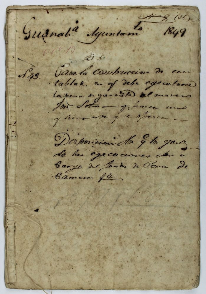 [Manuscript Records of Preparations for the Execution of a Freed Cuban Slave, Condemned for Murder]. Cuba, Slavery.
