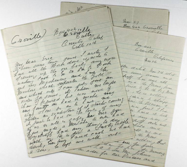 [Three Autograph Letters from a Gold Mining Engineer Working Near Oroville]. California, Mining.