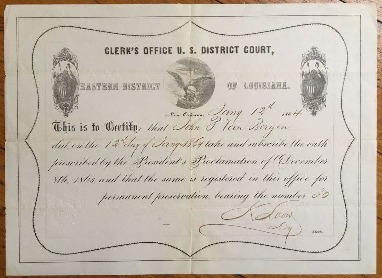 [Printed Union Loyalty Oath for Eastern Louisiana and New Orleans, Completed in Manuscript]. Louisiana.