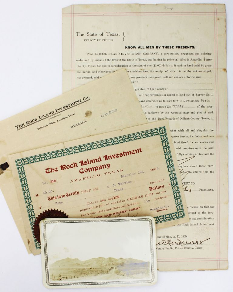 Oldham City. Oldham County Texas [caption title]. [with:] [Deed, Stock Certificate, & Telegram from Rock Island Investment Company]. Texas, Land.