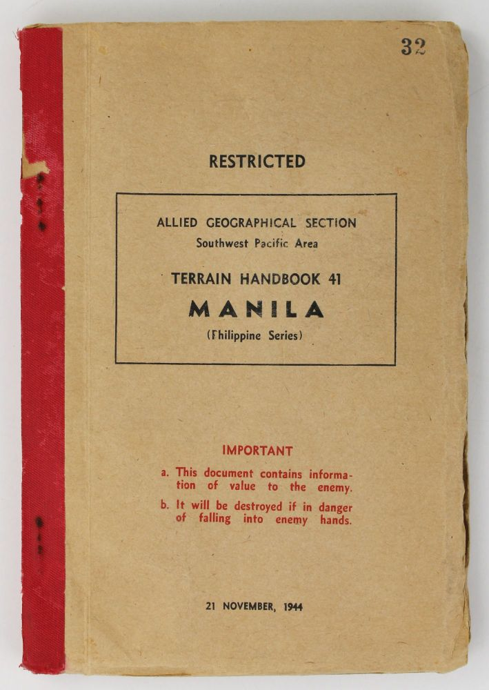 Restricted. Allied Geographical Section Southwest Pacific Area. Terrain Handbook 41 Manila (Philippine Series). World War II.