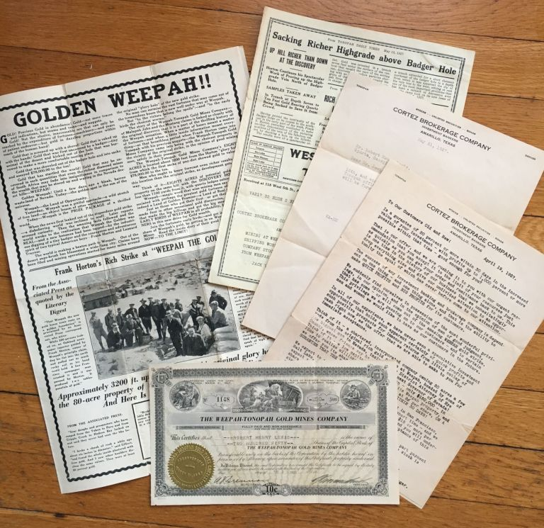 [Group of Typed Letters and Promotional Material for the Weepah-Tonopah Gold Mines Company]. Nevada, Mining.