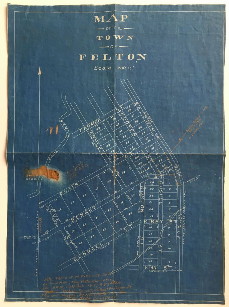 Map of the Town of Felton [caption title]. California, Cartography.