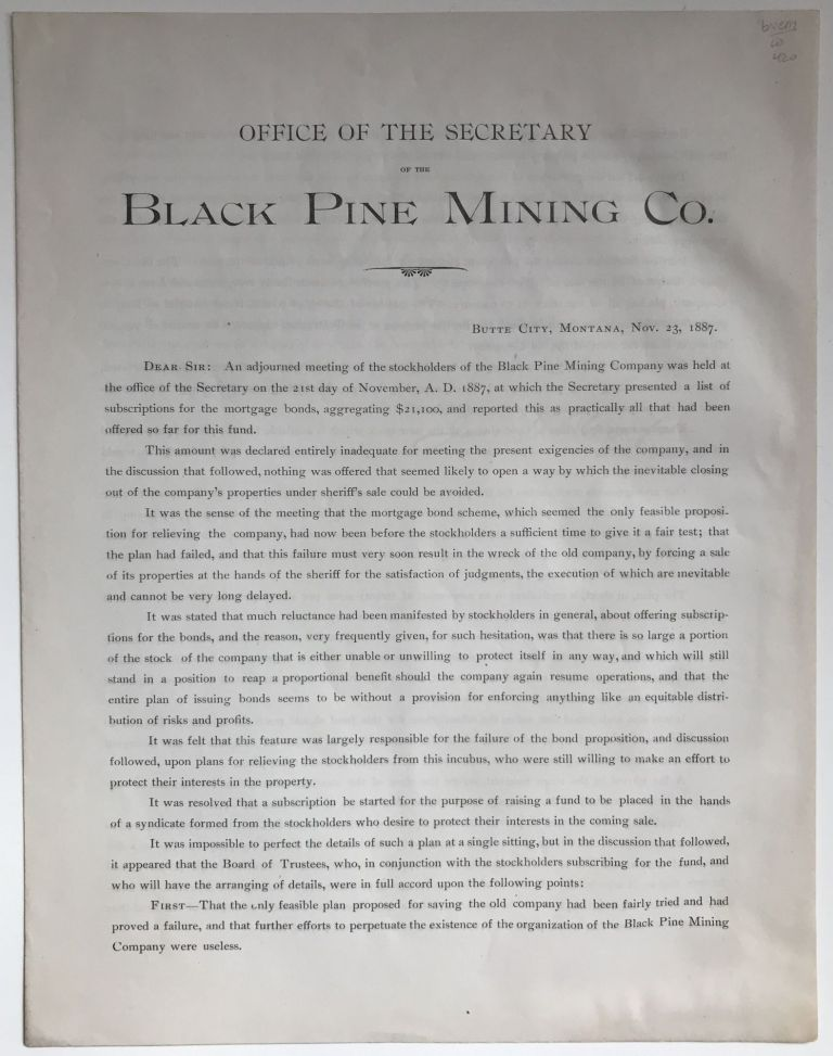 Office of the Secretary of the Black Pine Mining Co. [caption title]. Montana, Mining.
