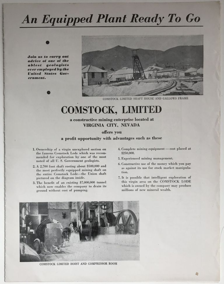 An Equipment Plant Ready to Go. Comstock, Limited a Constructive Mining Enterprise Located at Virginia City, Nevada Offers You a Profit Opportunity with Advantages Such as These [caption title]. Nevada, Mining.