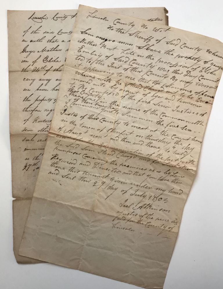 [Two Manuscript Legal Documents Relating to an 1805 Case of Horse Thievery Involving a Kentucky Slave]. Slavery, Kentucky.
