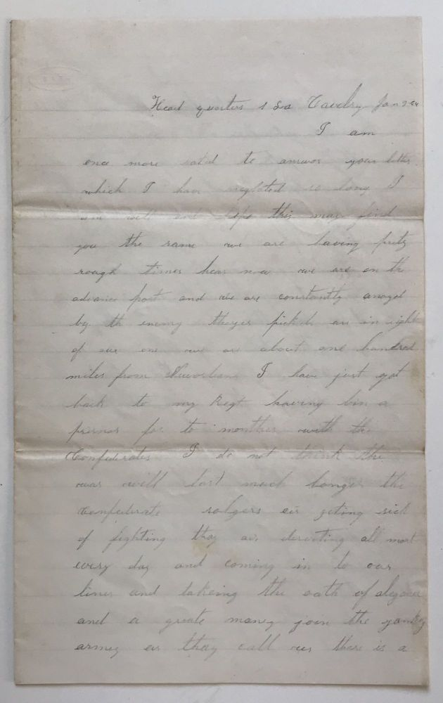 [Autograph Letter, Signed, by First Louisiana Union Cavalry Private William Ellsworth, Announcing His Release from Confederate Prison]. William S. Ellsworth, Civil War.