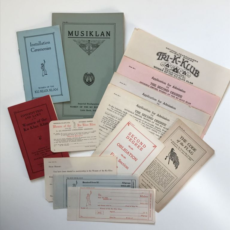 [Small Collection of 1920s Materials for Use by the Women of the Ku Klux Klan]. Ku Klux Klan, Women.