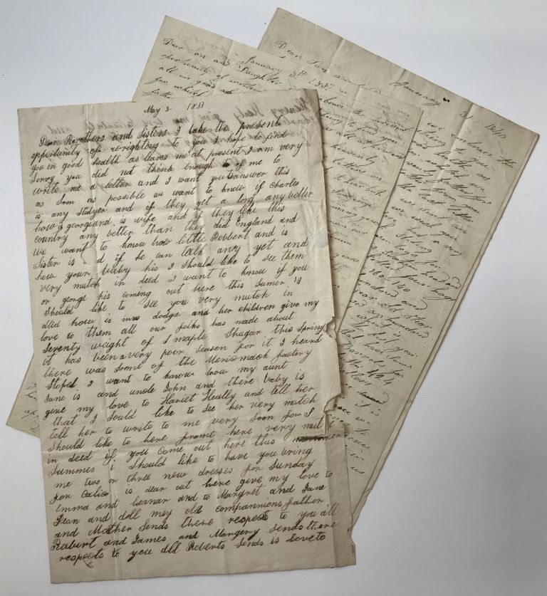 [Three Letters Written by an English Family of Farmers, Describing Life After Settling in Cleveland in the 1830s]. Ohio, Smith Family.