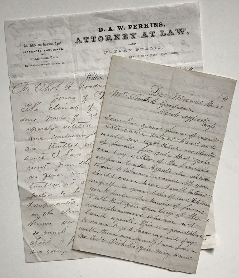 [Two Letters to Thomas Goodwin with Advice on Settling in Iowa]. Iowa.