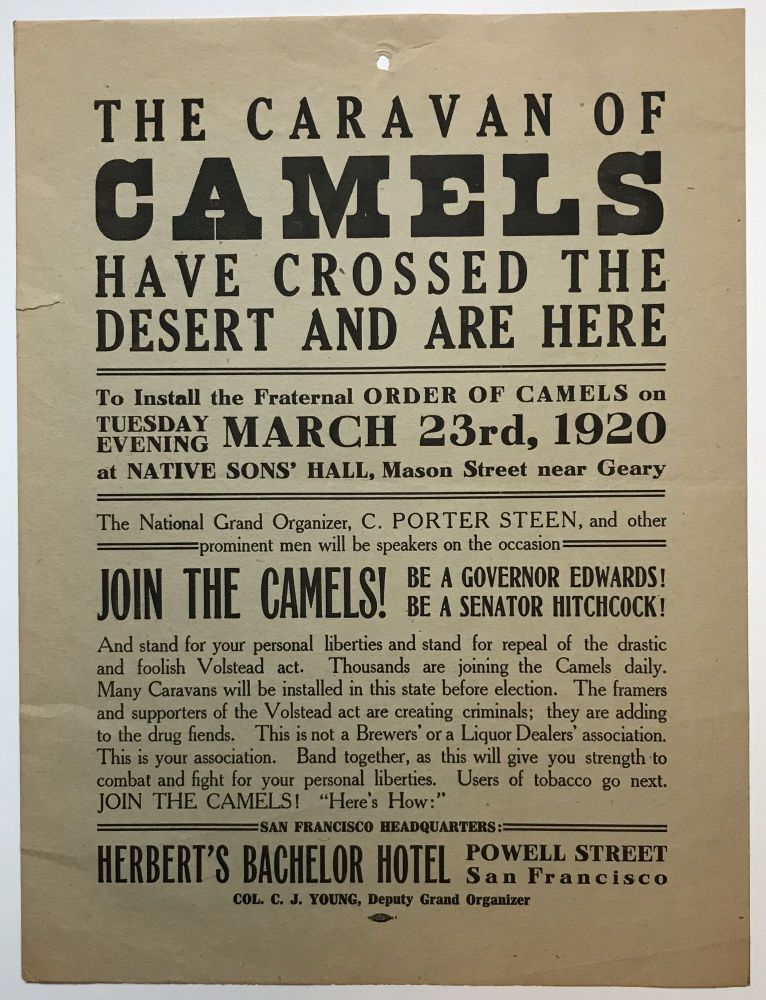 The Caravan of Camels Have Crossed the Desert and Are Here [caption title]. California, Anti-Prohibition.