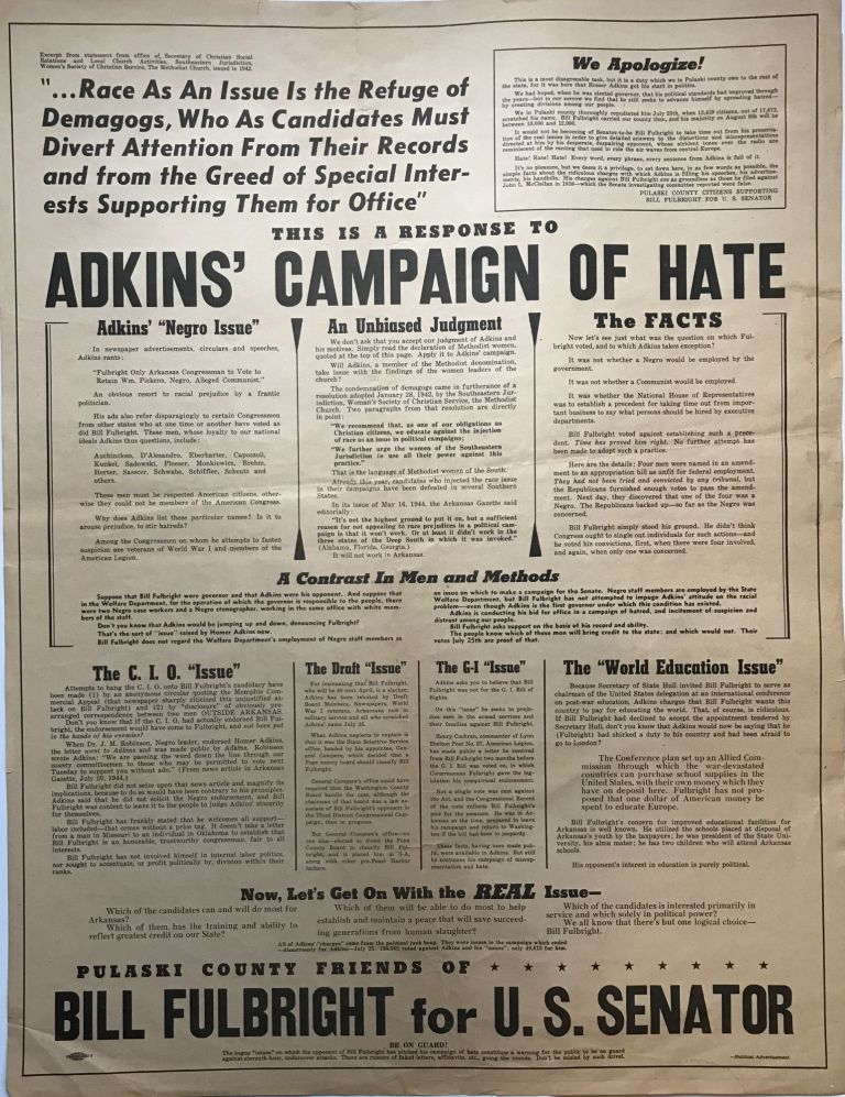 This Is a Response to Adkins' Campaign of Hate [caption title]. Arkansas.